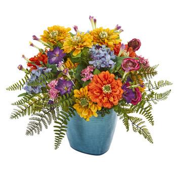 Mixed Floral Artificial Arrangement in Blue Vase - SKU #1550