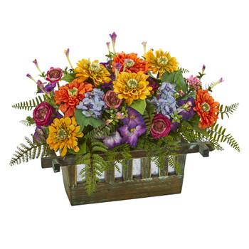 Mixed Floral Artificial Arrangement in Rectangular Wood Planter - SKU #1551