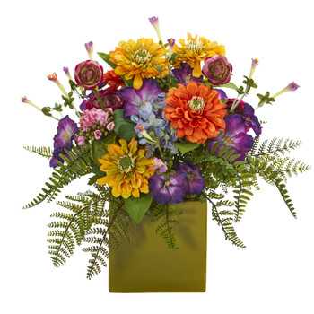 Mixed Floral Artificial Arrangement in Green Vase - SKU #1552