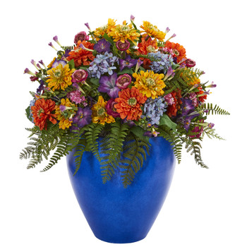 Giant Mixed Floral Artificial Arrangement in Blue Vase - SKU #1553