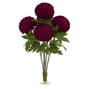 30 Mum Artificial Arrangement in Flared Vase - SKU #1554