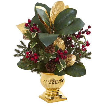 20 Magnolia Leaf Holly Berry Artificial Arrangement in Gold Urn - SKU #1556