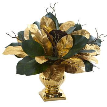 18 Magnolia Leaf Artificial Arrangement in Gold Planter - SKU #1557