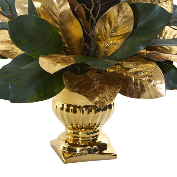 18 Magnolia Leaf Artificial Arrangement in Gold Planter - SKU #1557 - 1
