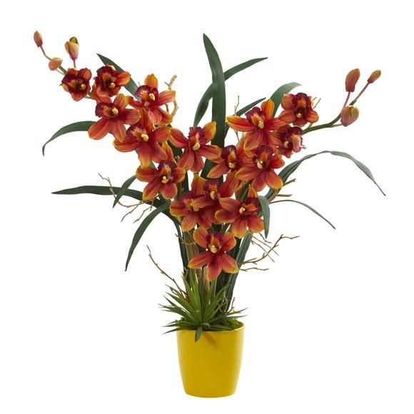 Cymbidium Orchid Artificial Arrangement in Yellow Vase - SKU #1558 - 2