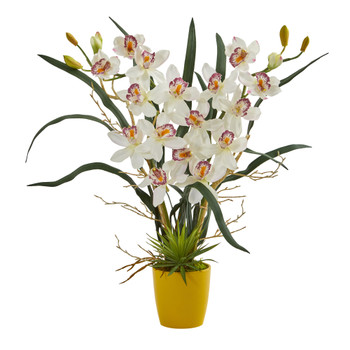 Cymbidium Orchid Artificial Arrangement in Yellow Vase - SKU #1558