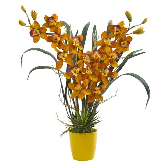 Cymbidium Orchid Artificial Arrangement in Yellow Vase - SKU #1558 - 1