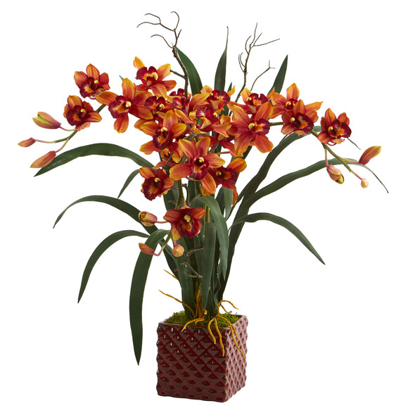 29 Cymbidium Orchid Artificial Arrangement in Red Vase - SKU #1559 - 2