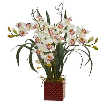 29 Cymbidium Orchid Artificial Arrangement in Red Vase - SKU #1559-WH