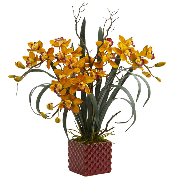 29 Cymbidium Orchid Artificial Arrangement in Red Vase - SKU #1559 - 1