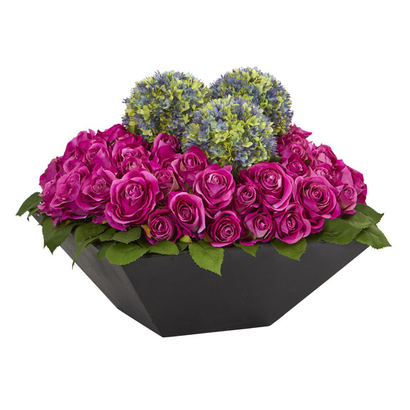 Roses and Ball Flowers Artificial Arrangement in Black Vase - SKU #1560