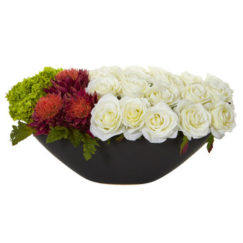 Rose Tropical Flower and Hydrangea Artificial Arrangement in Black Vase - SKU #1561-WO