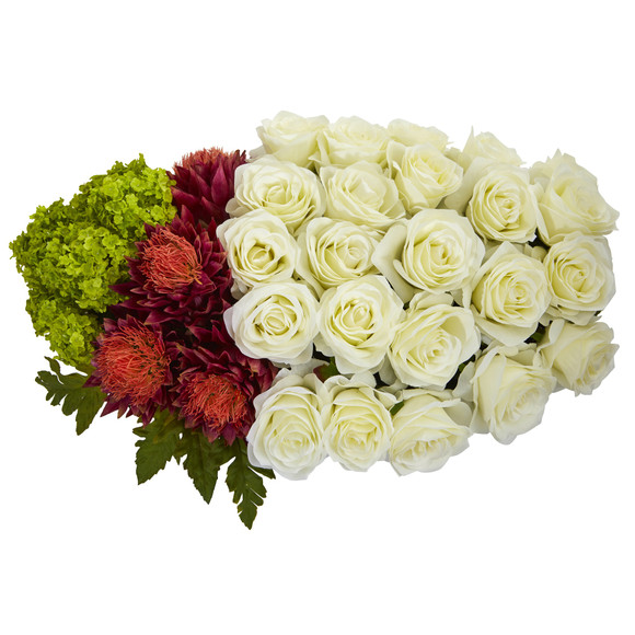 Rose Tropical Flower and Hydrangea Artificial Arrangement in Black Vase - SKU #1561 - 1