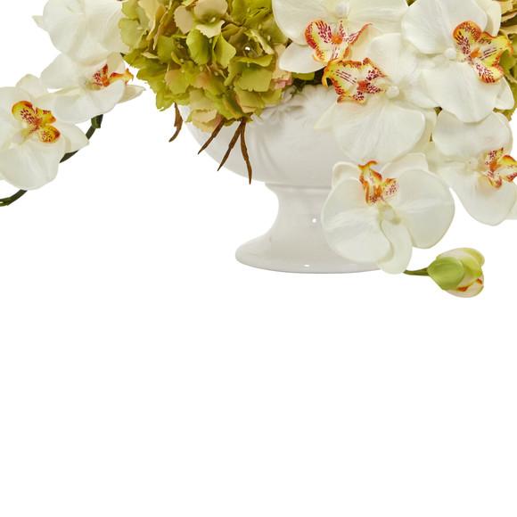 Phaleanopsis and Hydrangea Artificial Arrangement in Pedestal Urn - SKU #1562 - 3