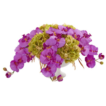 Phaleanopsis and Hydrangea Artificial Arrangement in Pedestal Urn - SKU #1562-OR