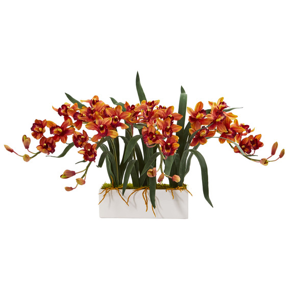 Cymbidium Artificial Arrangement in White Vase - SKU #1563 - 2