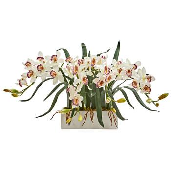 Cymbidium Artificial Arrangement in White Vase - SKU #1563