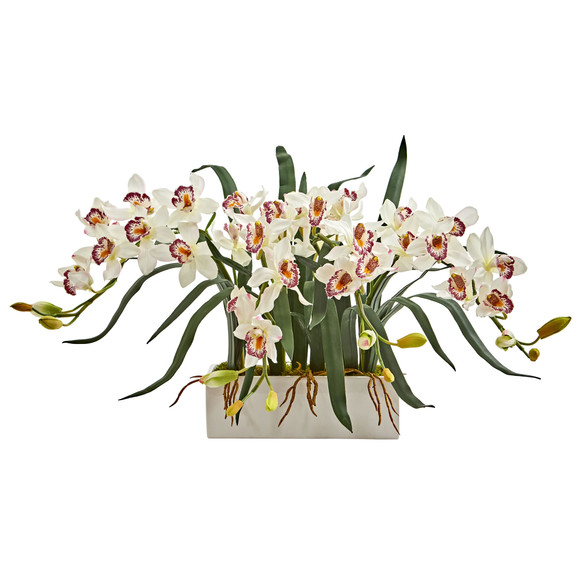 Cymbidium Artificial Arrangement in White Vase - SKU #1563