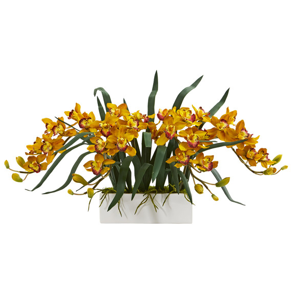 Cymbidium Artificial Arrangement in White Vase - SKU #1563 - 1