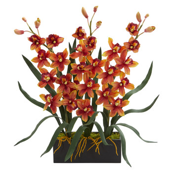 Cymbidium Orchid Artificial Arrangement in Black Vase - SKU #1564-BG