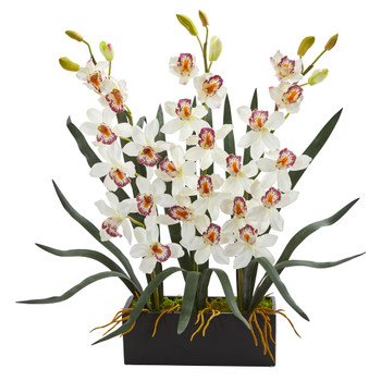 Cymbidium Orchid Artificial Arrangement in Black Vase - SKU #1564-WH