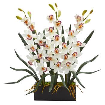 Cymbidium Orchid Artificial Arrangement in Black Vase - SKU #1564