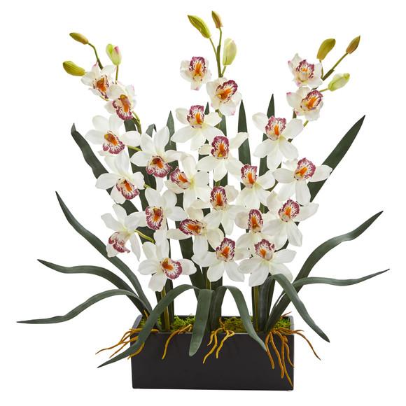 Cymbidium Orchid Artificial Arrangement in Black Vase - SKU #1564-WH
