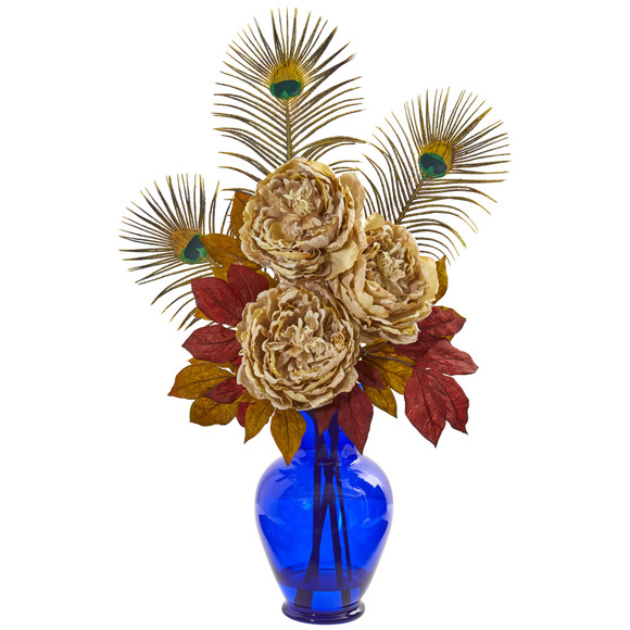 Peony in Blue Vase Artificial Arrangement - SKU #1565 - 2