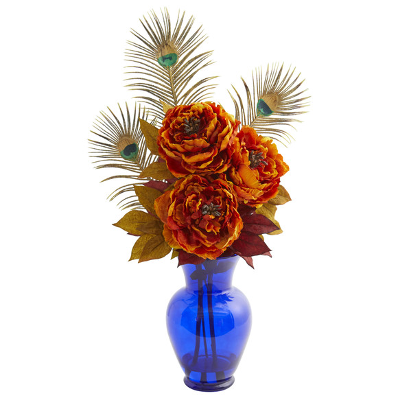 Peony in Blue Vase Artificial Arrangement - SKU #1565 - 3