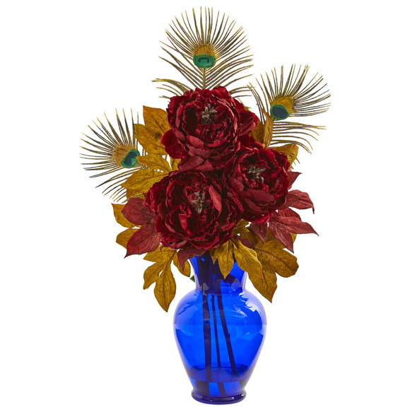 Peony in Blue Vase Artificial Arrangement - SKU #1565
