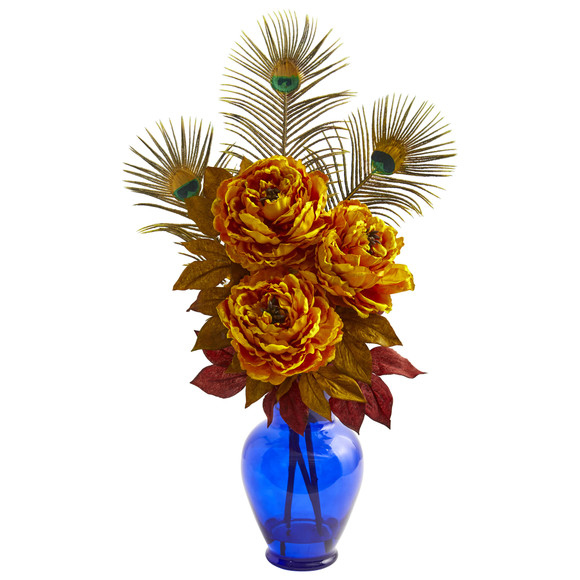 Peony in Blue Vase Artificial Arrangement - SKU #1565 - 1