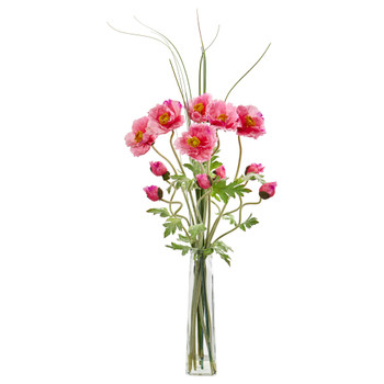 Poppy and Grass Artificial Arrangement - SKU #1566