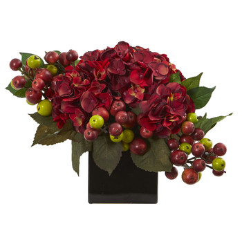 Hydrangea Artificial Arrangement in Black Vase - SKU #1568