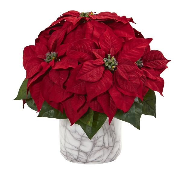 15 Poinsettia Artificial Arrangement in Marble Finished Vase - SKU #1569