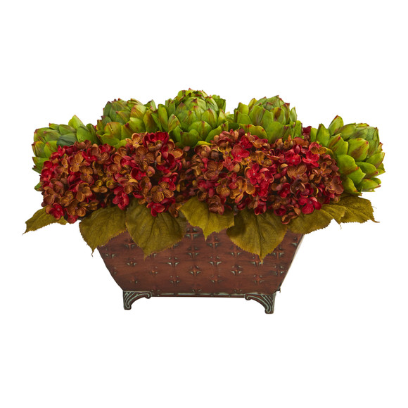 Hydrangea Artichokes Artificial Arrangement in Metal Planter - SKU #1570