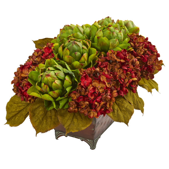 Hydrangea Artichokes Artificial Arrangement in Metal Planter - SKU #1570 - 1