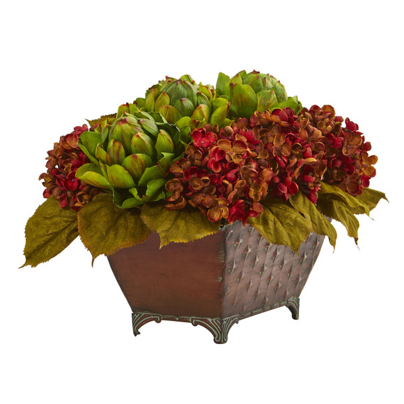 Hydrangea Artichokes Artificial Arrangement in Metal Planter - SKU #1570 - 2