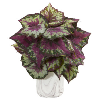 Wax Begonia Artificial Plant in Marble Finished Vase - SKU #1571