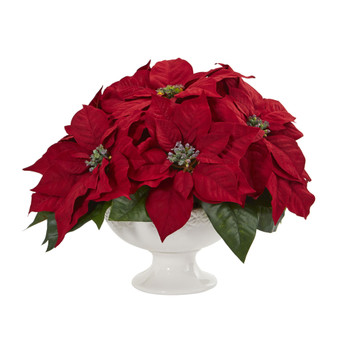 Poinsettia Artificial Arrangement in Urn - SKU #1572