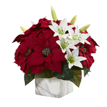 Poinsettia Lily Artificial Arrangement in Marble Vase - SKU #1573
