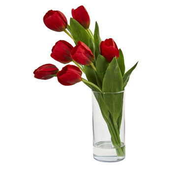 Tulip Artificial Arrangement in Cylinder Vase - SKU #1574