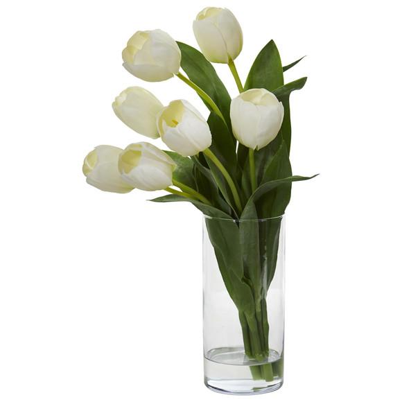 Tulip Artificial Arrangement in Cylinder Vase - SKU #1574 - 2