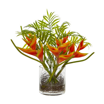 Mini Heliconia Palm Tropical Artificial Arrangement - SKU #1575