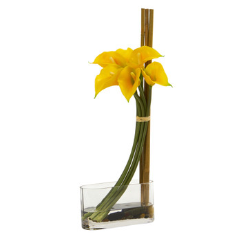 18 Calla Lily with Bamboo Artificial Arrangement - SKU #1576-YL