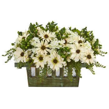 Daisy Artificial Arrangement in Decorative Planter - SKU #1577