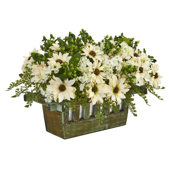 Daisy Artificial Arrangement in Decorative Planter - SKU #1577 - 1