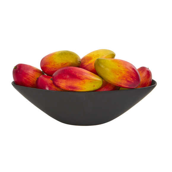 Dozen 8 Faux Mangos in Black Vase - SKU #1578