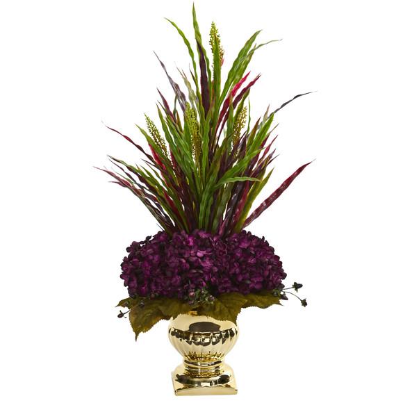 Grass Hydrangea Artificial Arrangement in Gold Urn - SKU #1579 - 1