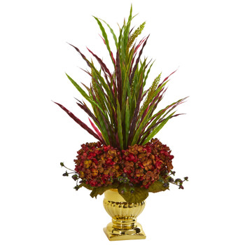 Grass Hydrangea Artificial Arrangement in Gold Urn - SKU #1579-RU