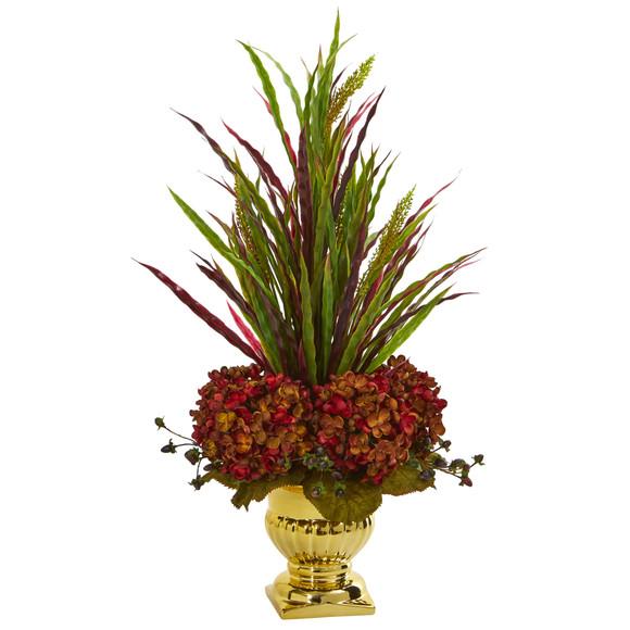 Grass Hydrangea Artificial Arrangement in Gold Urn - SKU #1579-RU